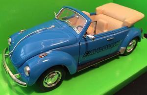 Welly 1:24 VW Beetle old Convertible (blue) s logem AHLBORN - 1
